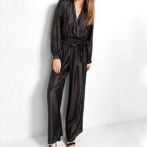 NWT Express Black Shimmer Tie Waist Jumpsuit